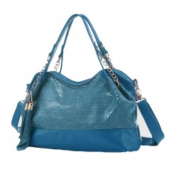 Snakeskin Pattern Leather Chain Handbag